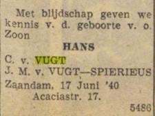 krantenknipsel geboorte zoon Van Vugt