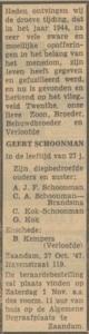 krantenbericht over overlijden Geert Schoonman