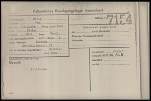 Document kamp Amersfoort met naam Jan Stolp